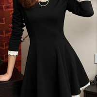 Black Lace Long Sleeve Skater Mini Dress
