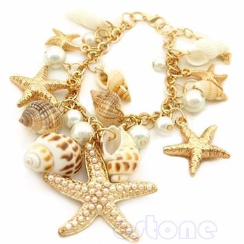 Ocean Multi Starfish Sea Star Conch Shell Chain Beach Trendy Bracelet 2017