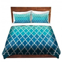 DiaNoche Designs Unique Decorative Designer Duvet Covers and Shams | Organic Saturation's Aqua Ombre Quatrefoil