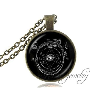 Drop Shipping Pentagram Necklace,Black Magic Sign,Occult Pendant Pentacle Sacred Geometry Jewelry,Pagan Religion Wiccan Jewelry
