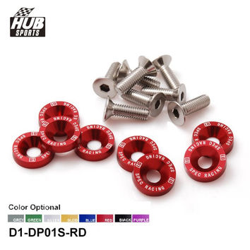 Hubsports - D1 Spec 8 Pcs M6 x 20 Headlights Bumpers Fender Washers Kit Bolt Screw Engine Red Color Fit For HONDA D1-DP01S-RD