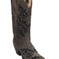 Corral® Women's Roughed Brown w/ Black Sequin Inlay Snip Toe Western Boots