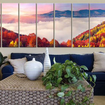 Large Wall Art Colourful Autumn Above Clouds Canvas Art Print 8 Panel Mountains Landscape Red Tree Large CANVAS - MC108