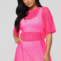 Your Bright Future Short Sleeve Top - Neon Pink
