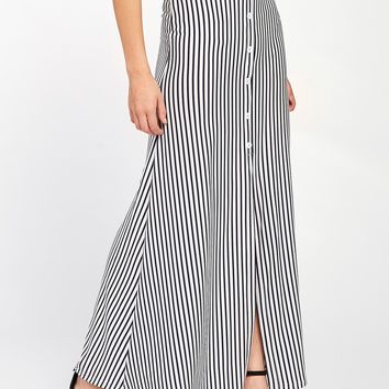 Vertical Striped Button Front Skirt