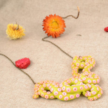 Extravagant handmade polymer clay unique necklace  women's accessories gift