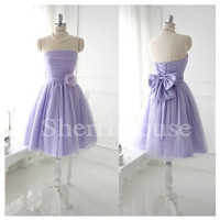 Flower Strapless Lace-up Short Gown Sleeveless Bridesmaid Celebrity Dress , Mini Tulle Evening Party Prom New Homecoming Dress