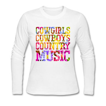 Cowgirls Cowboys Country Music Flowers O Neck XXXL Tshirts Young Classic Long Sleeve Tee Shirts Mujer T-Shirt Femme