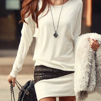 White Sequined Long Sleeve Mini Dress