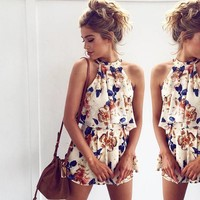 Women's Fashion Sleeveless Print Shorts Romper Jumpsuit [9818994125]