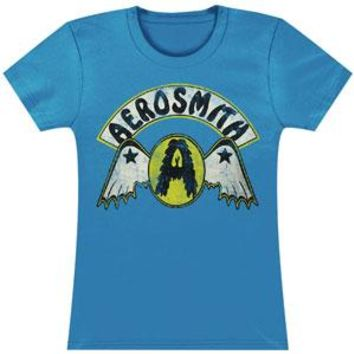 Aerosmith  Circle A W/ Wings Junior Top Blue