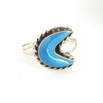 Vintage Turquoise Ring, Mexican Sterling Silver - Size 6.75, Christmas Gift For Her