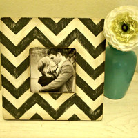 Handpainted Grey and White Chevron Stripe Picture Frame