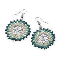Round White and Teal Beaded Fashion Earrings