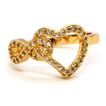 (1-3083-j2) Gold Overlay CZ Infinity Heart Ring.
