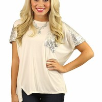 Never Enough Sparkle Top in Ivory
