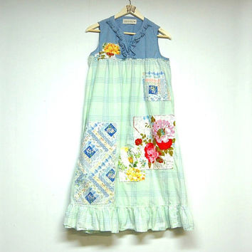 M/L Romantic Cotton Patchwork Country Dress, Sleeveles Smock Dress, Shabby Chic, Feminine, Altered, Upcycled Clothing