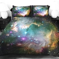 Anlye Galaxy Bedspread Cover Set King 2 Sides Printing Colorful Silk Space Duvet Cover with 2 Body Customized Pillow Case King