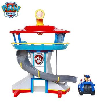 Genuine Paw Patrol Dog Puppy Patrol Car Action Figures Patrulla Canina Sound And Light Car Parking Lot Toy Set Kids Toys Gifts
