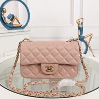 HCXX 19July 054 A1116 Chain Emboss Single Shoulders Bag Classic Logo size 20-12-7cm pink gold