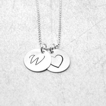 Large Initial Heart Necklace, Sterling Silver Initial Necklace, Letter W Necklace, Letter W Pendant, Heart Necklace, Charm Necklace