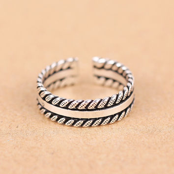 New Arrival Shiny Jewelry Gift 925 Silver Twisted Korean Stylish Ring [7652921159]