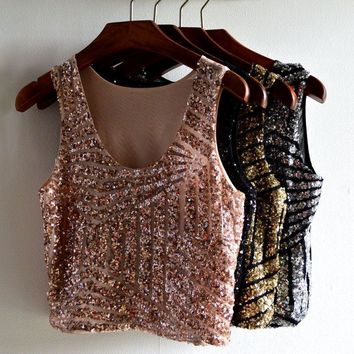 Gold Sequin Top Cropped Feminino Crop Top Cropped For Women Camisole Sexy Sleeveless Top Haut Femme Women Summer Vest Women