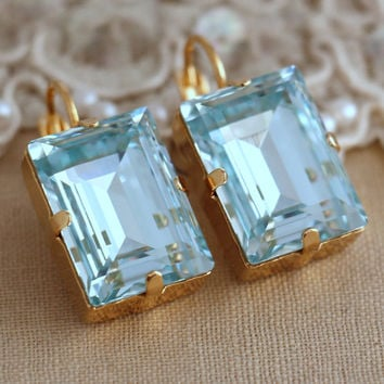 Aquamarine Crystal earrings, Hand made Swarovski Gold Drop earrings, Special Emerald cut Swarovski earrings, Gift for woman, Bridal jewelry