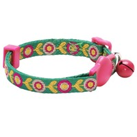 "Blueberry Pet Pack of 1 Ethnic Inspiration Embroidered Flora Pattern Adjustable Breakaway Small Cat Collar with Bell, Neck 9""-13"""