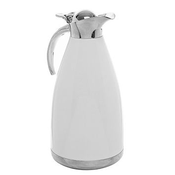 2.0L White Stainless Steel Double Wall Vacuum Insulated Thermal Carafe / Hot Coffee & Tea Serving Pitcher