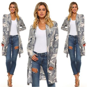 US STOCK Womens Cardigan Loose Sweater Camo Long Sleeve Outwear Jacket Coat Tops