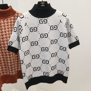 PEAPJ1A GUCCI new autumn and winter high-necked short-sleeved double g letter sweater women White