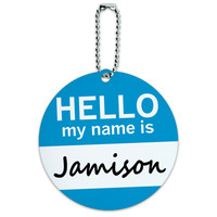 Jamison Hello My Name Is Round ID Card Luggage Tag