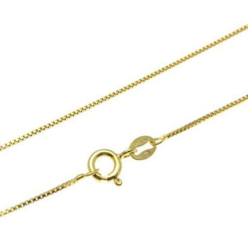"""1MM ITALIAN YELLOW GOLD ON SILVER 925 BOX CHAIN NECKLACE 16"""",18"""",20"""",22"""",24"""""""