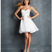 Night Moves by Allure 2014 Prom Dresses - White Ruffled Chiffon Strapless Short Prom Dress