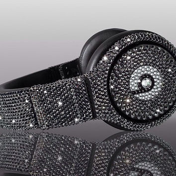 Swarovski Crystal Beats By Dre Bling Black Diamond Headphones - Made with Swarovski Elements Crystal Studio, Solo, and Pro Beats Headphones
