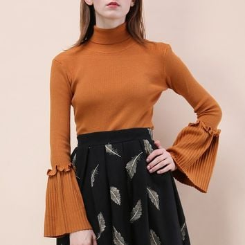 Keep Knit Up Turtleneck Top in Orange
