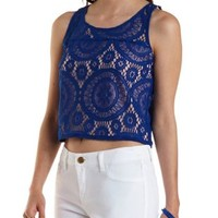 Cobalt Medallion Lace Crop Top by Charlotte Russe