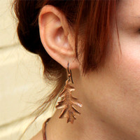 Oak Leaf Earrings, Copper & Niobium, TAGT