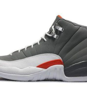 PEAPONVX Jacklish Cheap Air Jordan 12 Retro Cool Grey/white-team Orange For Sale
