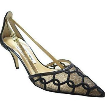 PEAP1U1 Jimmy Choo Black Lace Pointed Shoe 7