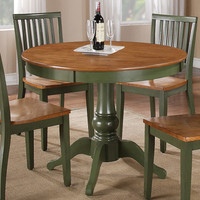 Steve Silver Candice Round Dining Table in Oak & Green