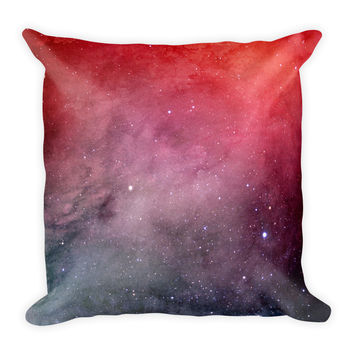 Galaxy Space Red Decorative Throw Pillow 18x18