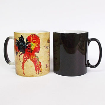 Game of Thrones Color Changing Mug Daenerys Targaryen Cup Magic Mug House Targaryen Coffee Mug Magical Mug Dragon Game Of Thrones Tea Mug