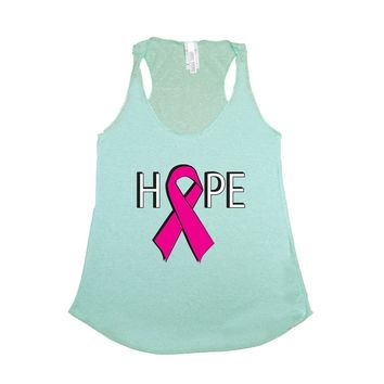 Women's Tank Top Breast Cancer Awareness Hope Pink Ribbon Support