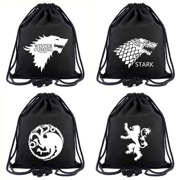Canvas Black Drawstring Bags Movies Anime Game of Thrones Winter Coming Stark Backpack for Young Students Gifts Drawstring Bag