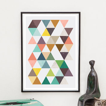 Geoemtric art, Abstract poster, Triangle print, Pink and turquoise, Home decor, Wall art, Mid century print, Retro poster, Scandinavian art