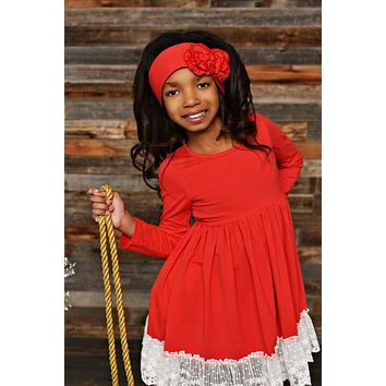 New Fall Serendipity Winter Berry Red Lace Swing Dress