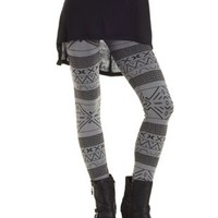 Black Combo Printed Fleece Lined Leggings by Charlotte Russe