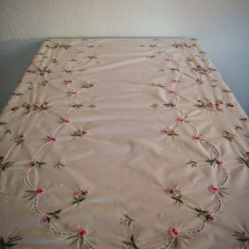 Vintage 70's Embroidered Tablecloth Light Tan with Pink and Red Floral Pattern